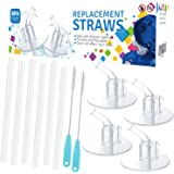 12Packs (6 Straws+2 Cleaning Brushes) for Thermos Replacement Straws with 4 Stems, for Thermos 12 Ounce Funtainer Bottle F401(with a Carry Loop), Silicone Straws Stem Set with Cleaning Brushes