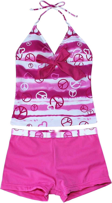 inlzdz Youth Girls Two Piece Tankini Swimsuit Swimwear Racer Back Tank Top with Boyleg Swim Shorts Age 6-14 Years