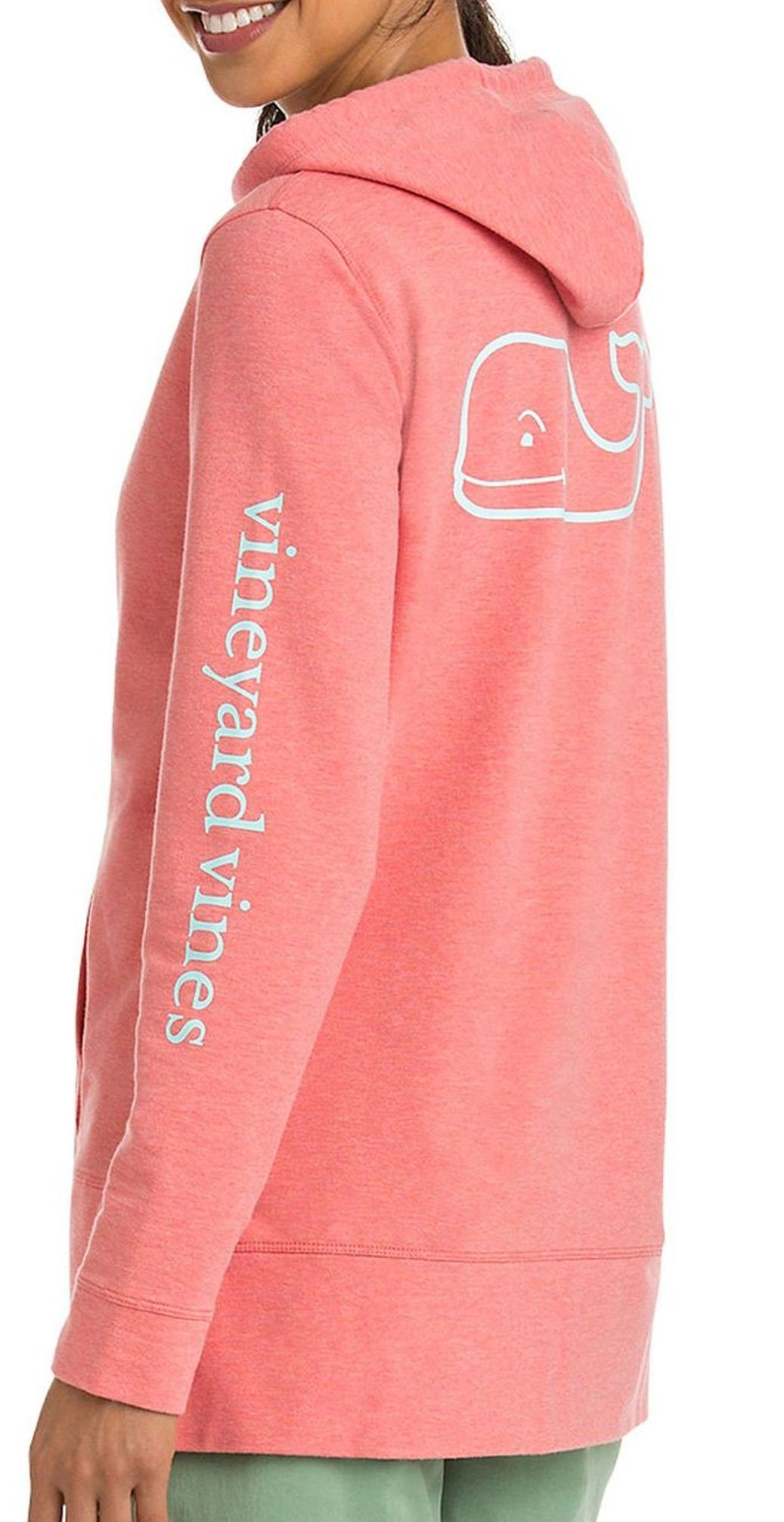 Vineyard Vines Womens LS Whale French Terry Hoodie Sweatshirt 2K1118-662 Blush (Small)