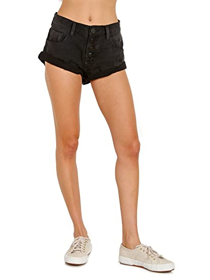 3344e47481 Bandits - Low Rise Cut Off Jean Shorts in Black Oak (24). Roll over image  to zoom in. One Teaspoon