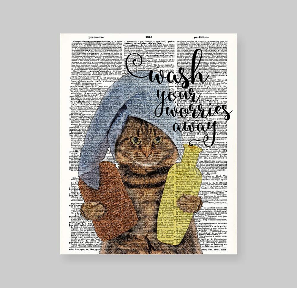 "Black cat tabby cats pet theme Unframed Art Print Poster Decor 8x10/"""