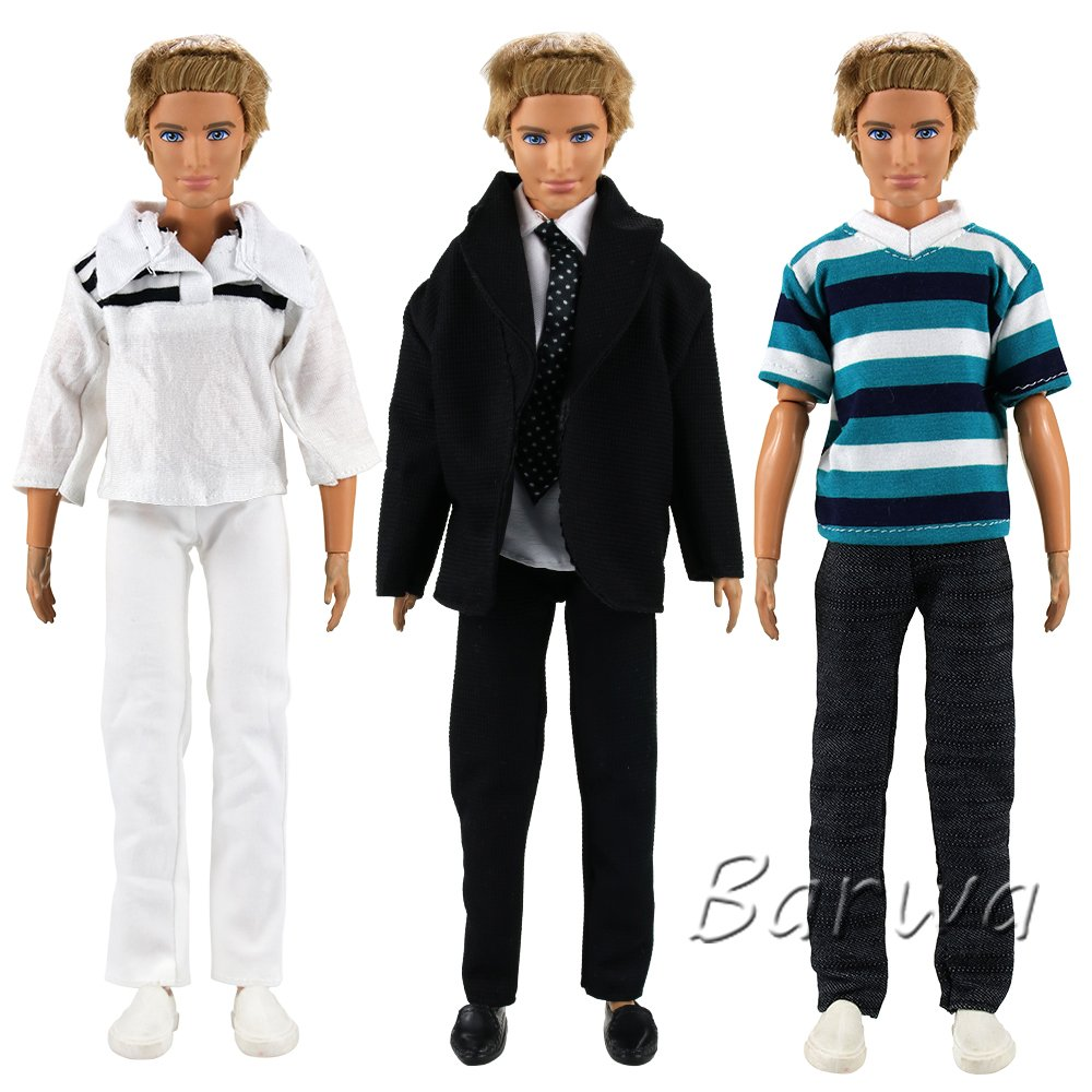 Barwa Clothes lot 2 Sets Casual T-shirts Pants + 1 Set Formal Black Suit for Ken Doll Barbie Doll Boy Friend KEN