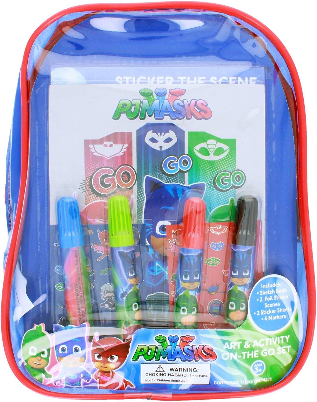 PJ Masks Juego de Libros para Colorear y Actividades, Incluye rotuladores, Pegatinas, Kit de Color para Manualidades sin ensuciar en Mini Mochila de ...