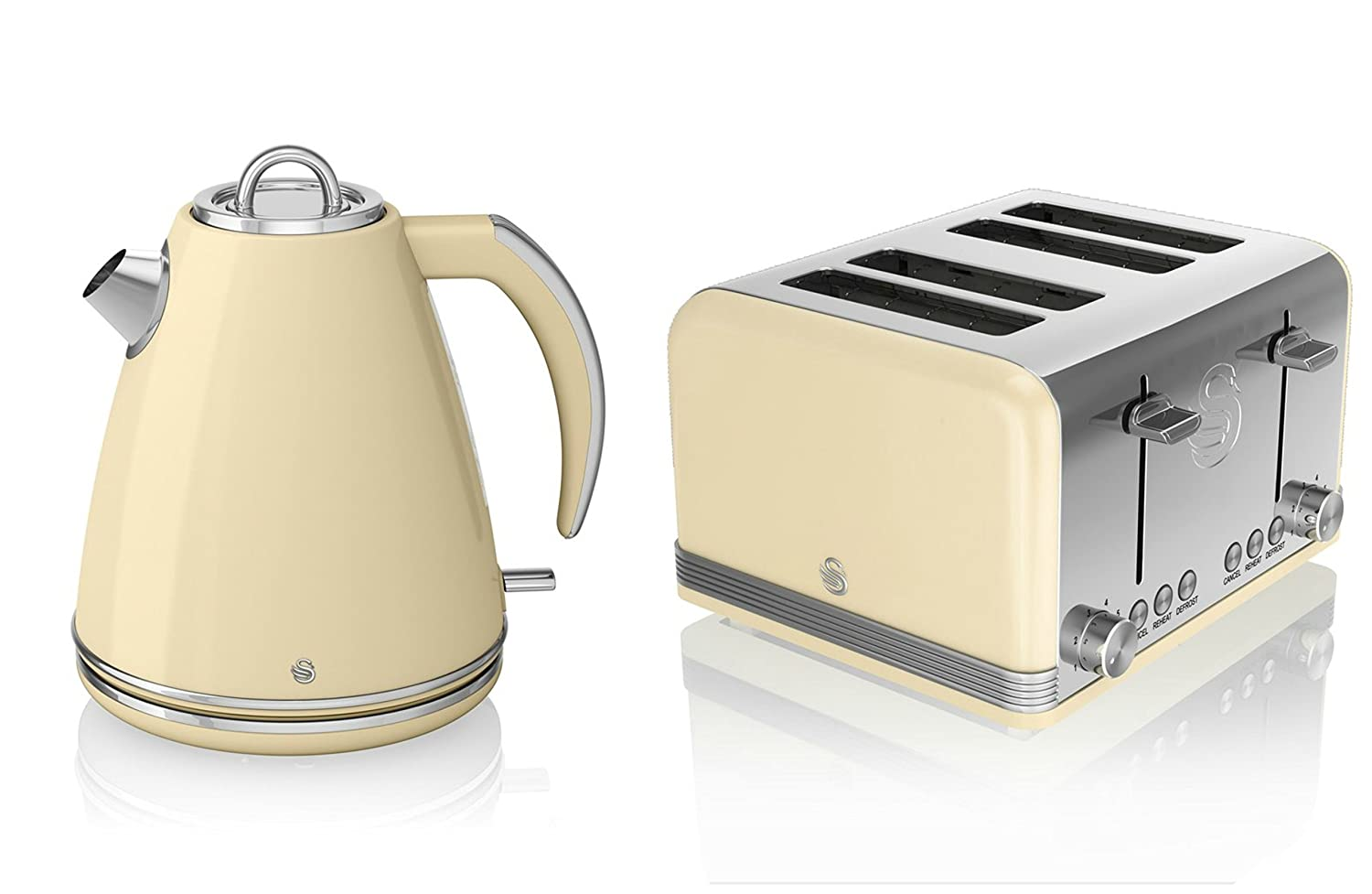 Swan Kitchen Appliance Retro Set - Cream 1.5 Litre Jug Kettle & Cream Modern 4 Slice Toaster Set