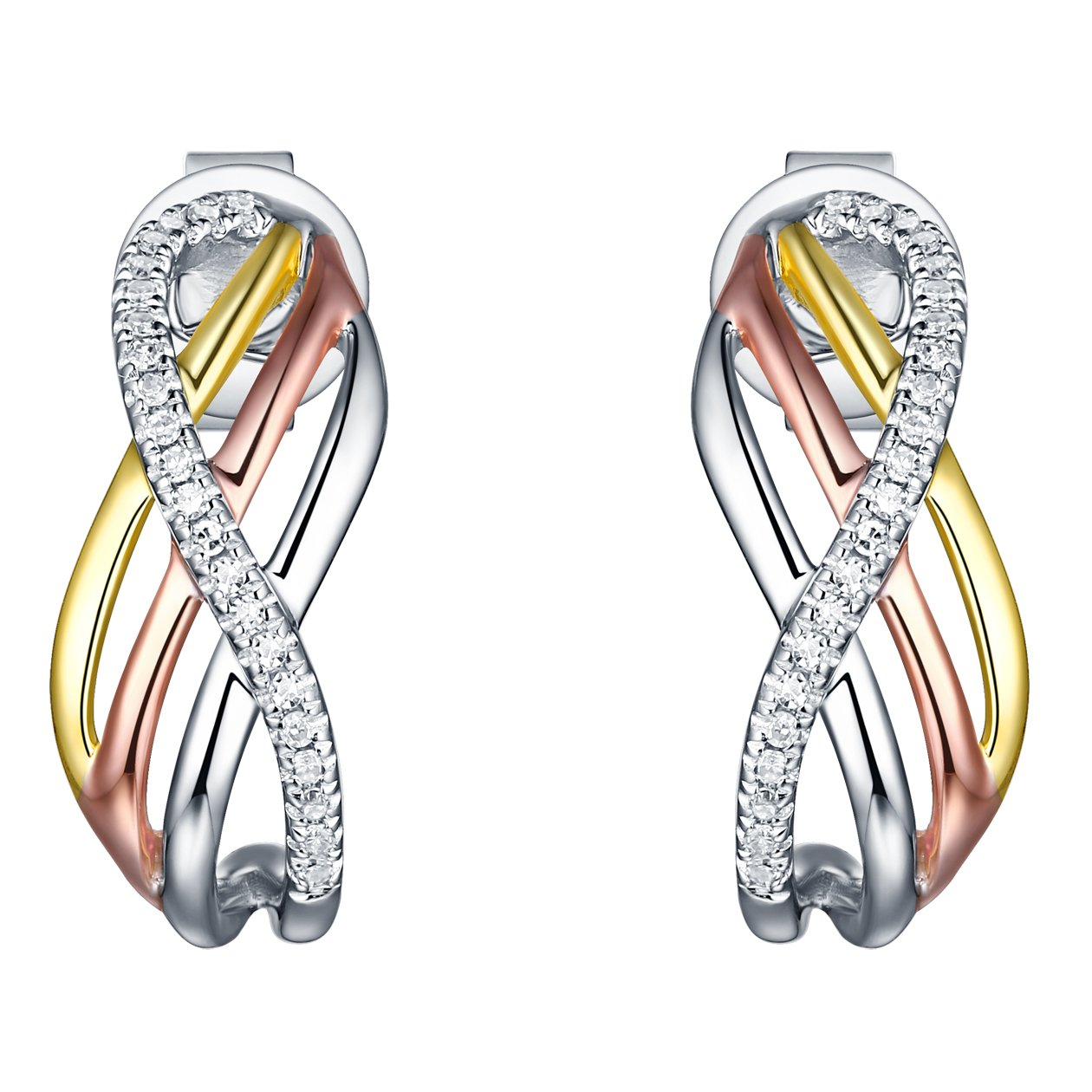 Prism Jewel 0.08Ct Natural Diamond Tri Color Gold Multi Crossover Push Back Earrings Crafted In 10k Gold