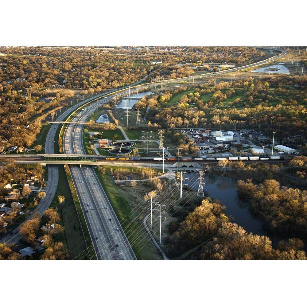 LanimioLOX Aerial View of Interstate and Railroad in Chicago, Illinois. - Removable Wall Mural | Self-Adhesive Large Wallpaper