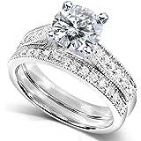 Round Moissanite (1ct DEW) and Diamond Wedding Ring Set in 14k White Gold - Size 5
