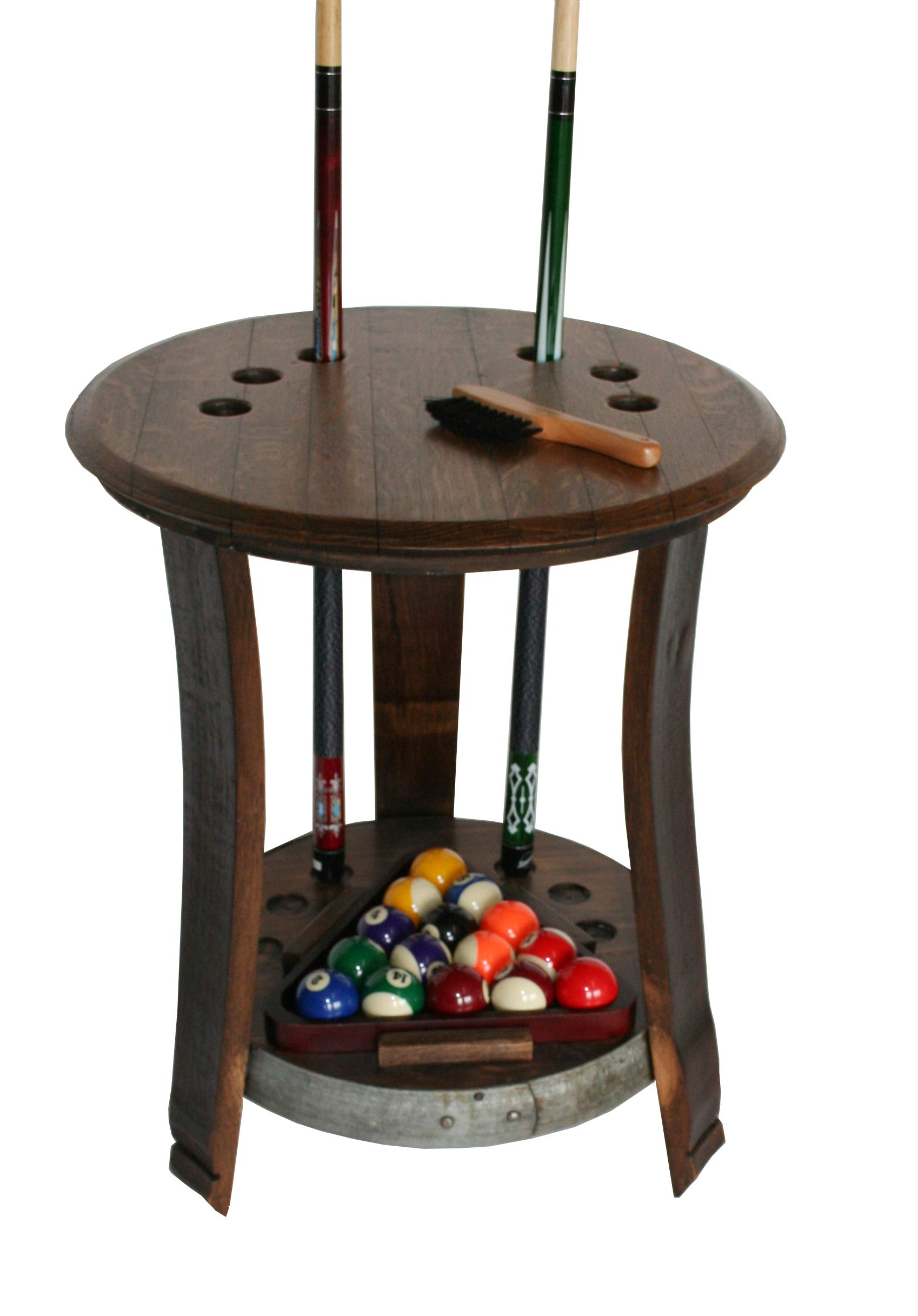 In the Garden and More Reclaimed Wine Barrel Head Pool Cue Rack Table