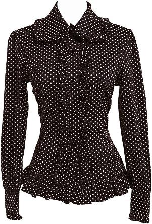 an*tai*na* Negra Algodón Volantes Encaje Lunares Polka Dot Victoriana Lolita Casual Camisa Blusa de Mujer