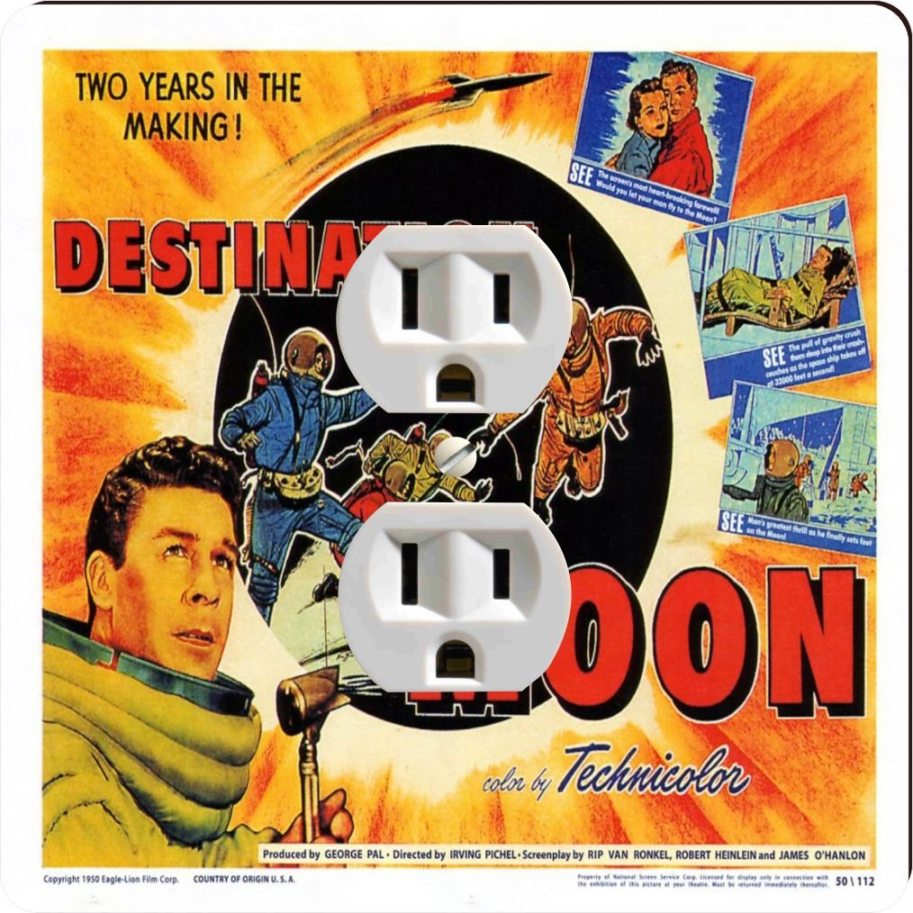 Rikki Knight 3705 Outlet Vintage Movie Posters Art destination Moon 2 Design Outlet Plate