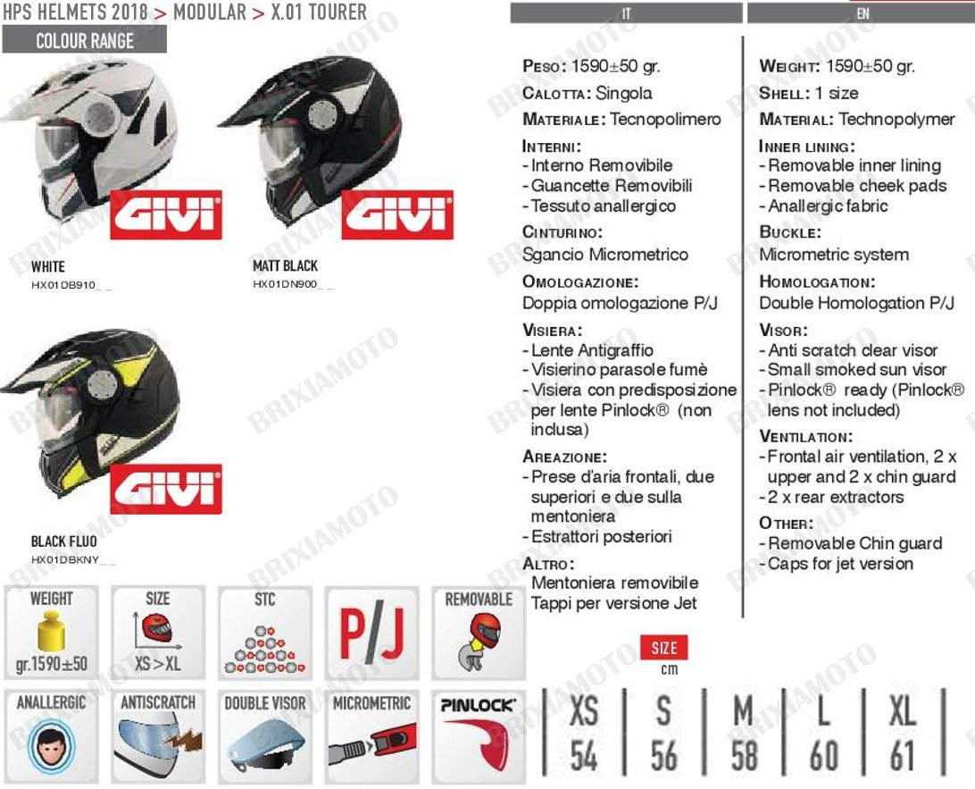 Color Negro Mate GIVI HX01DN90058 Hps X01D Integral Casco Tourer Talla 58//M