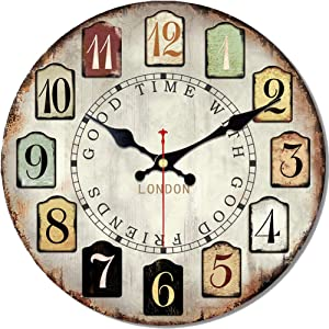 MEISTAR 16 Inch Wall Clock Silent Non Ticking no Frame Antique Vintage Rustic Colorful Tuscan Country Style Easy to Read Decoration Bar, Cafe