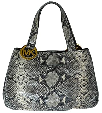 cecb91bc2979 Image Unavailable. Image not available for. Color  Michael Kors Dark Sand  Snake Skin Embossed Leather Fulton Large EW Tote Bag ...