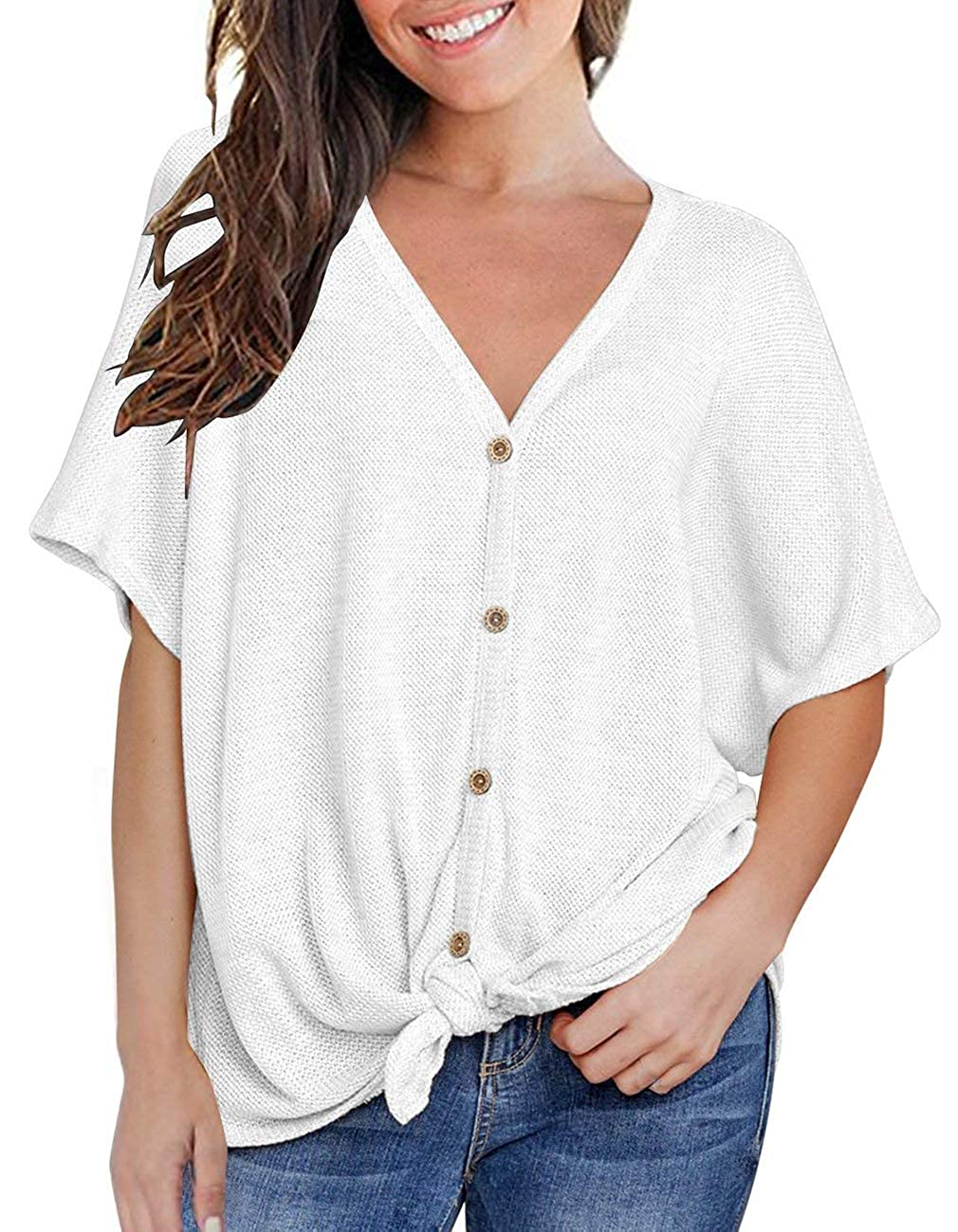 b8612f5c Top1: Defal Womens Sexy V Neck Short Sleeve Button Knitting Henley Shirt  Loose Front Tie Top
