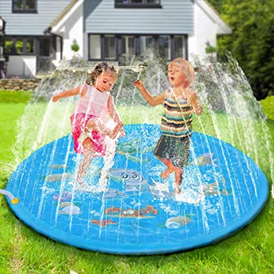 "HanShoo Upgraded 68"" Kids Sprinkler pad Splash Play Mat Outdoor Fun Party Sprinkler Water Toys Wading Swimming Pool for Toddlers,3 4 5 6 Years Old Boy Girl: Toys & Games"