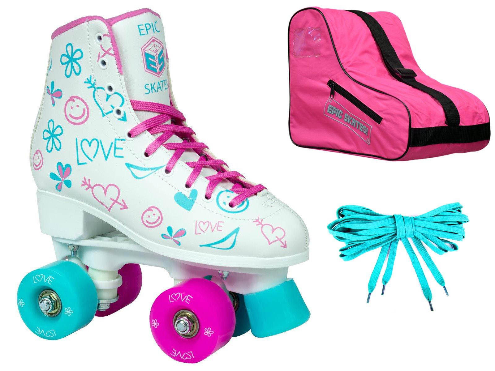 Epic Frost High-Top Indoor / Outdoor Quad Roller Skate 3 Pc. Bundle - Childrens (Juvenile 13)