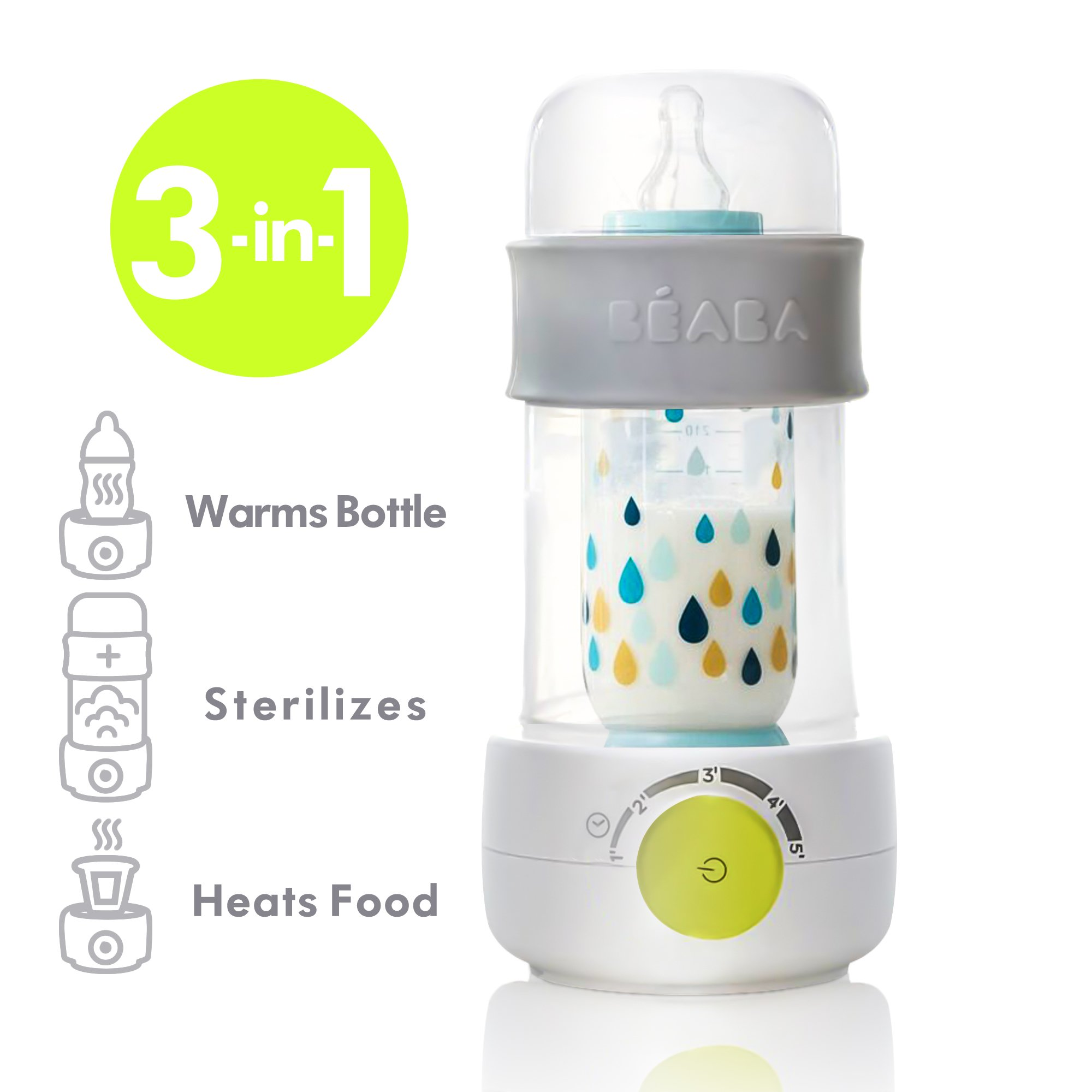 BEABA Quick Baby Bottle Warmer, Steam Sterilizer, Baby Food Heater (3-in-1) Warm Milk in Just Two Minutes, BPA and Lead Free, Simple Temperature Control, Fits All Bottle Sizes - Even Wide Neck, Neon