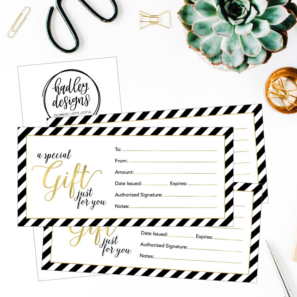25 4x9 Cute Blank Gift Certificate Cards For Business, Restaurant, Spa, Beauty Makeup Hair Salon, Wedding, Bridal, Baby Shower Print Custom Personalized Bulk Template Kit Forms Printable by Hadley Designs (Image #3)