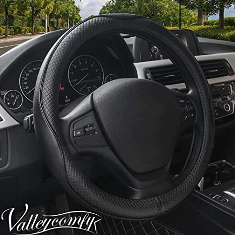 How To Unlock Steering Wheel >> Amazon Com Valleycomfy Steering Wheel Covers Universal 15 Inch With