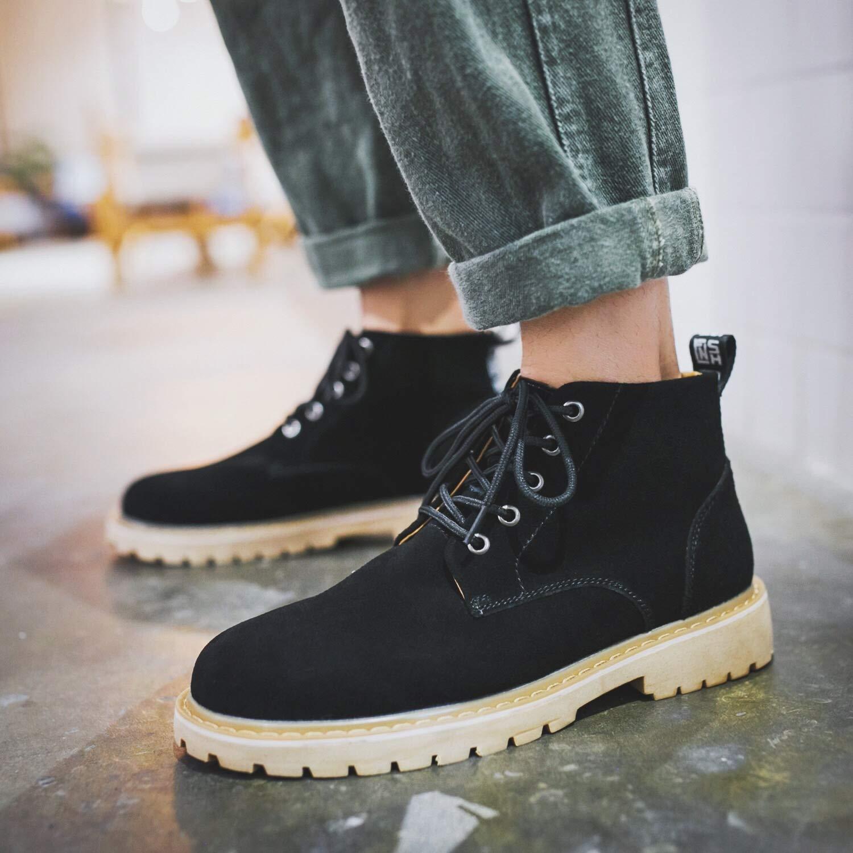 Lianaiec Herrenstiefel Mid Cut Leder Stiefelies Vielseitige Tooling Stiefel Lässige Winter High Top Schuhe