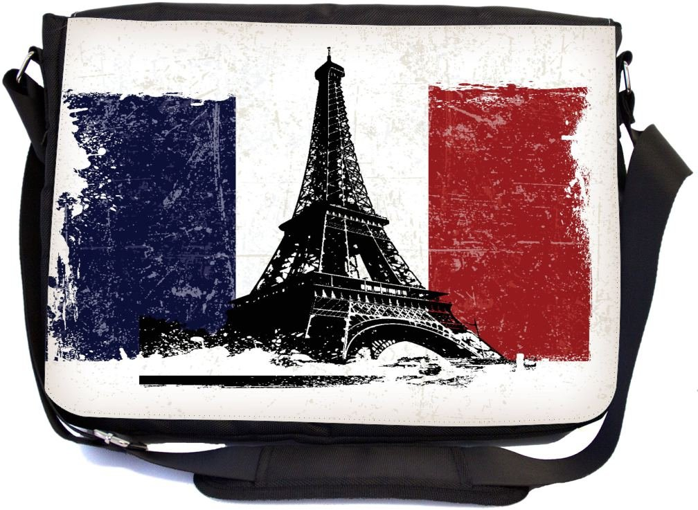 f0353b0929 chic Rikki Knight Eiffel Tower over French Flag Grunge Effect Design  Multifunctional Messenger Bag - School Bag - Laptop Bag - with padded  insert for School ...