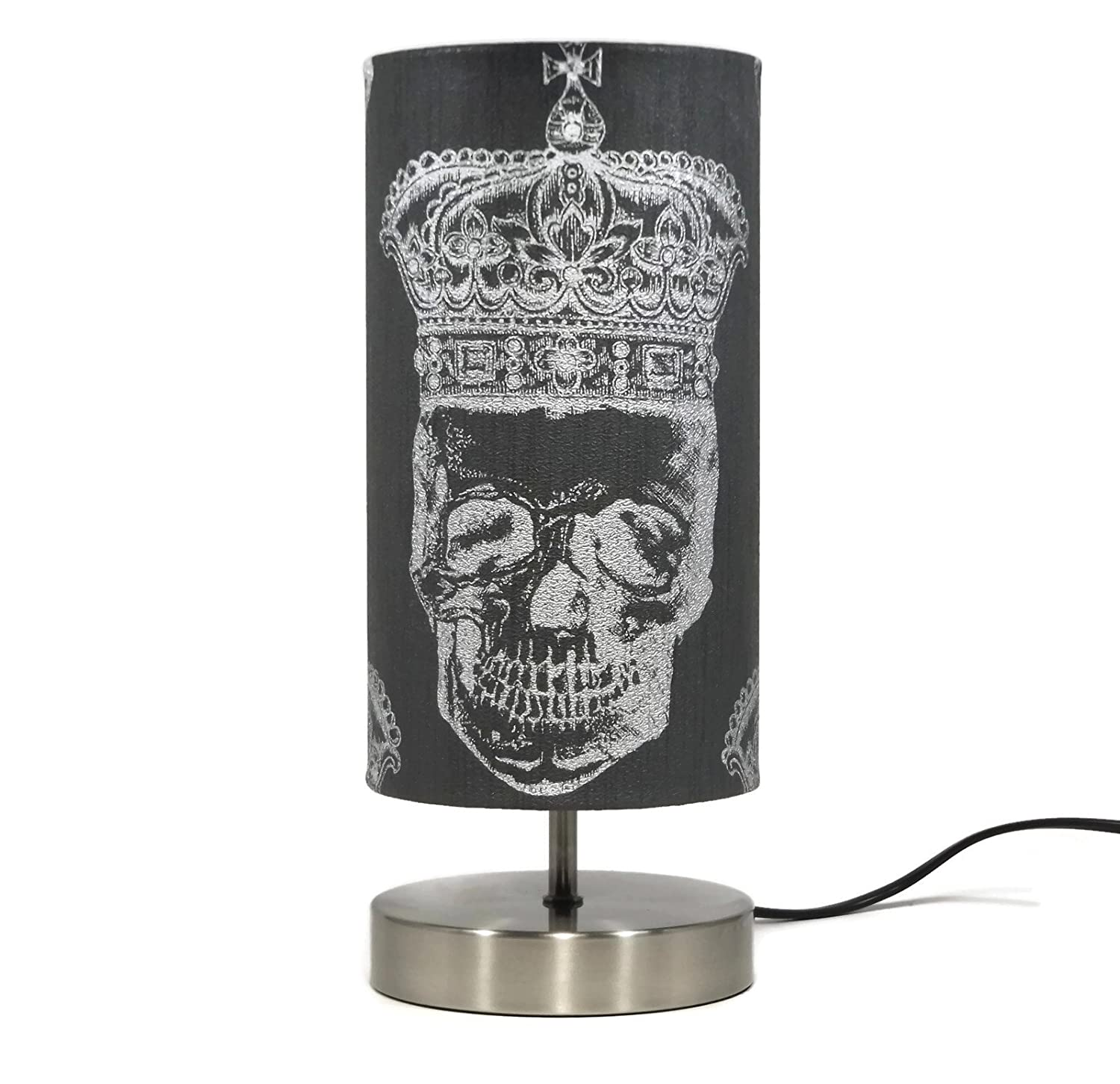 Black Skull Lamp Lampshade Night Light Girls Boys Teens Bedroom Bedside Table Lamps Accessories Gifts Silver Crown Sugar Skulls Room Decor Gifts
