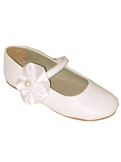 841994b8b1925 Amazon.com: Pazitos Little Girls Ivory Satin Pearl Flower Mary Jane ...