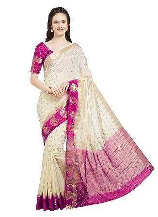 446ba8fcc6 Viva N Diva Women's Pink & Teal Blue Color Banarasi Art Silk Saree with  Unstitched Blouse
