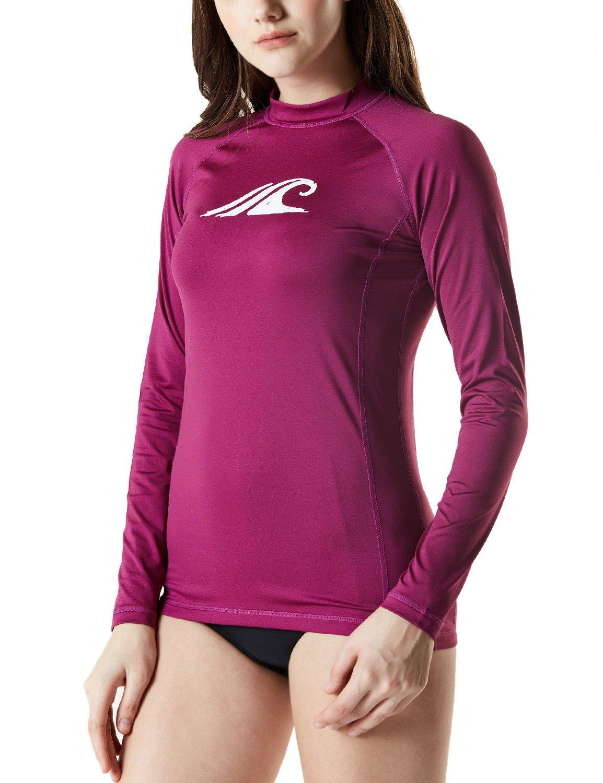 Tesla TM-FSR24-PLM_Large Women's UPF 50+ Regular-Fit Long Sleeve Athletic Rashguard FSR24