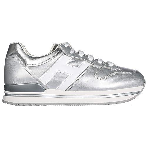 Hogan scarpe sneakers donna H222 allacciato H grande HXW2220T548I8G0906  argento N. 39 EU  Amazon.it  Scarpe e borse c26eb229b3a