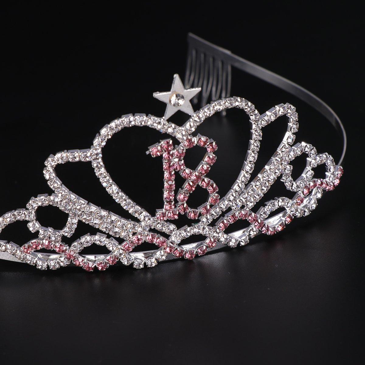 Frcolor Diadema Corona de 18 años - Crystal Princess Corona Tiara con peine de pelo