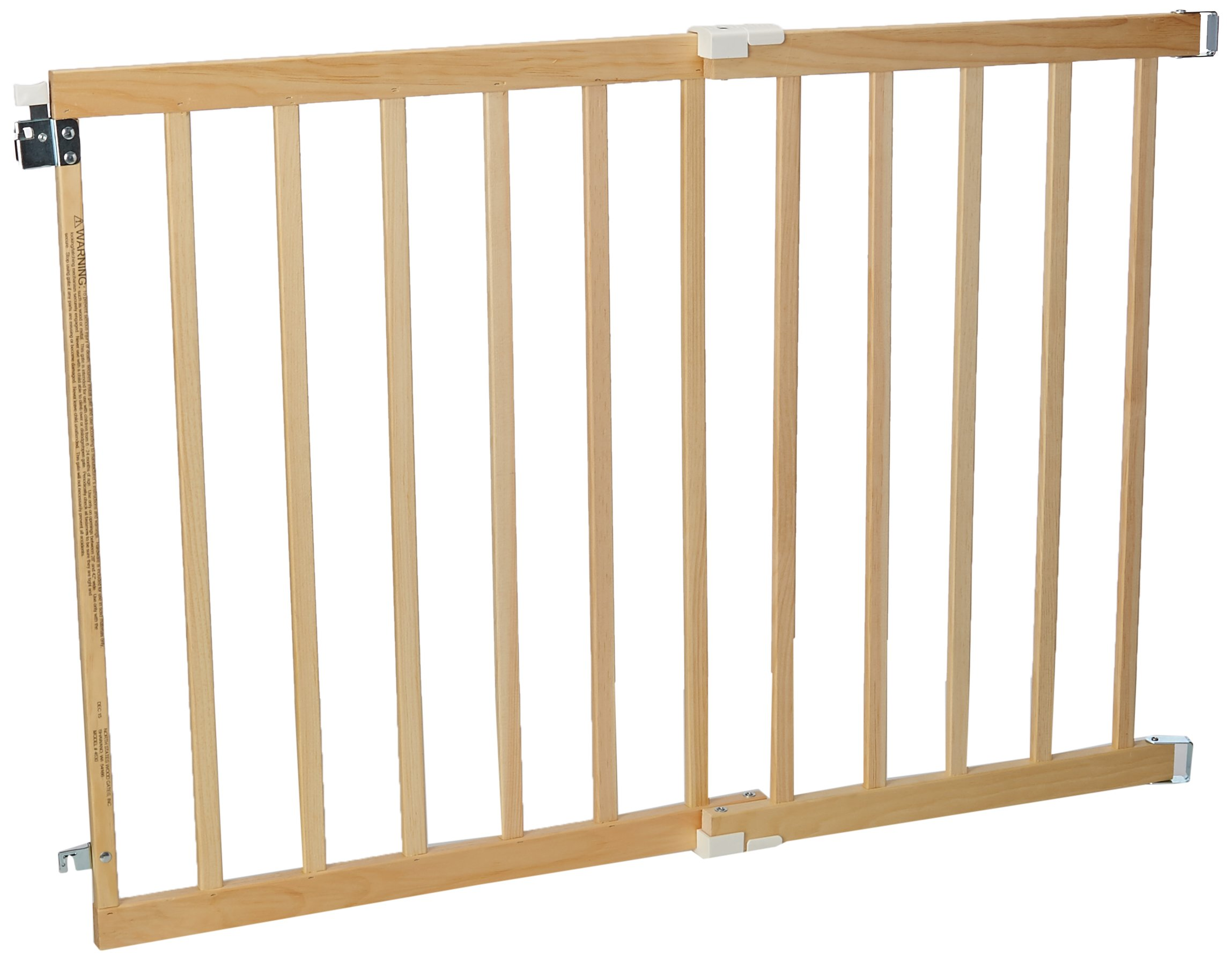 ''Stairway Swing Gate'' by North States: Ideal for standard stairways, with solid wood construction and one-handed operation. Hardware mount. Fits openings 28'' to 42'' wide (30'' tall, Natural wood)