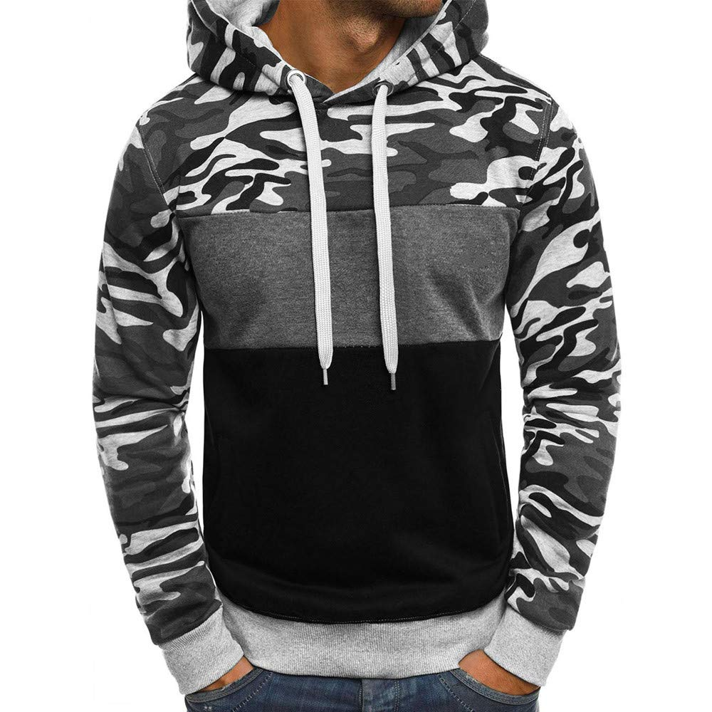Rambling Fashion Mens Camouflage Plus Size Pullover Long Sleeve Hooded Sweatshirt Tops Blouse by Rambling-Men's hoodie (Image #1)