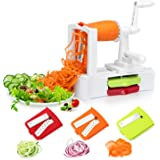 Spiralizer Vegetable Slicer, Folksmate Mandoline Slicer with Strong Stainless Steel Spiral 3-Blade, Best Veggie Pasta Spaghetti Make for Low Carb / Paleo / Gluten-Free