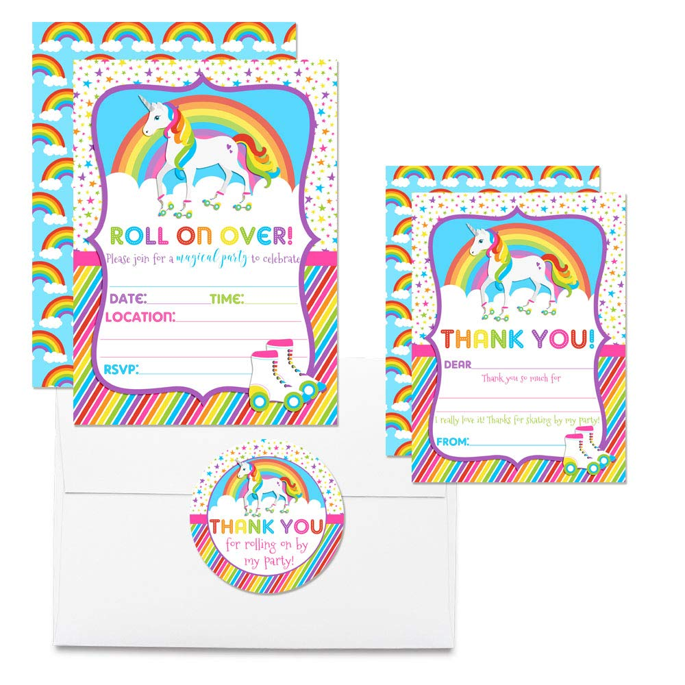 Deluxe Unicorn Rainbow Roller Skating Birthday Party Bundle, Includes 20 Each of 5''x7'' Fill-in Invitation Cards, Thank You Cards, Thank You Party Favor Stickers and Envelopes