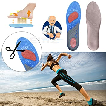 Gel Arch Support Shoe Inserts, Sport Pain Relief Insoles, Cuttable Comfort Pads, Shock