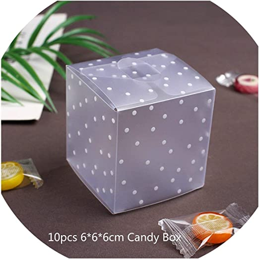 10pcs Square Transparent PVC Cube Gift Candy Boxes Clear Wedding Party Decor