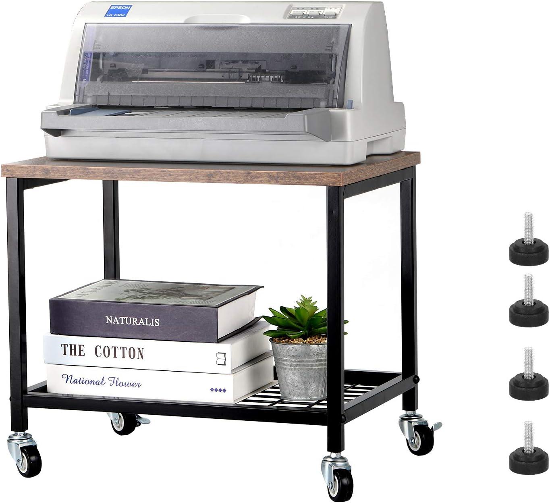 Rustic Brown Printer Home Lockable Wheels Metal Frame Scanner ...