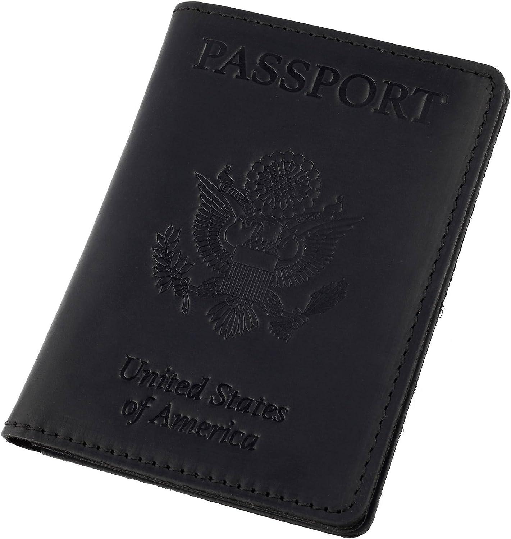 NEW BLACK Genuine LEATHER PASSPORT HOLDER COVER WALLET