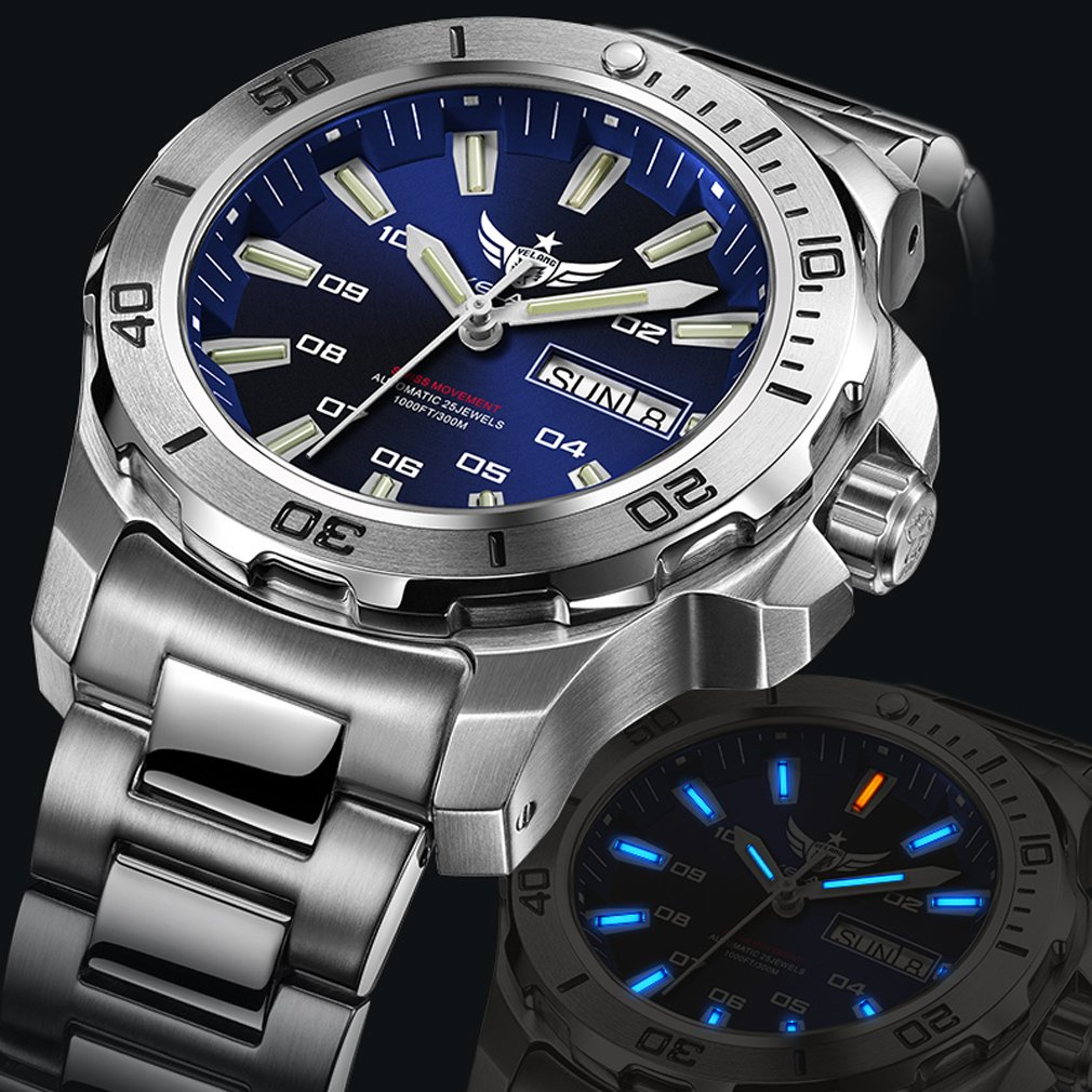 YELANG V5.1 Mens Diving 300m Waterproof T100 Tritium Dual Calender Automatic Mechanical Wrist Watch with ETA 2836 Movement – Blue Dial Blue Luminous