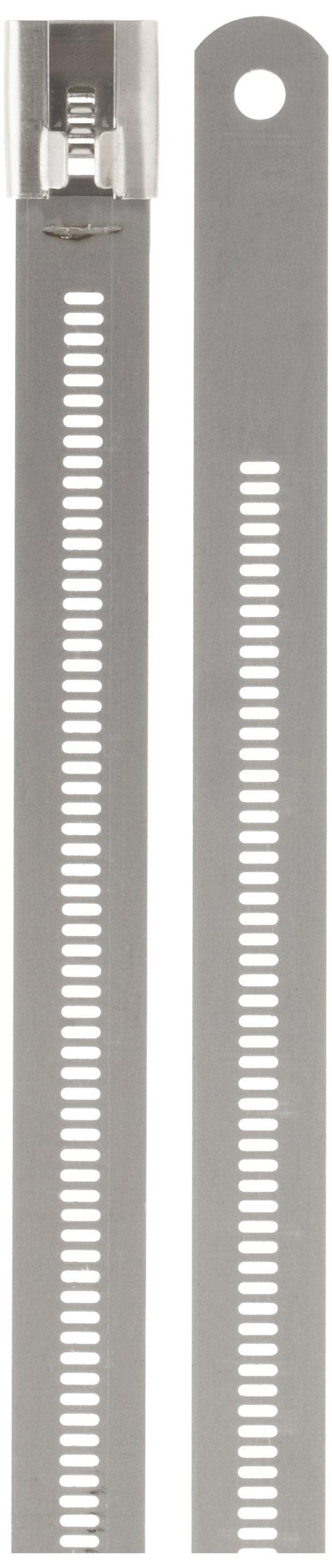 BAND-IT AE7019 316 Stainless Steel Multi Lok Cable Tie, 0.47'' Width, 6'' Length, 1.3'' Maximum Diameter, Bag of 100
