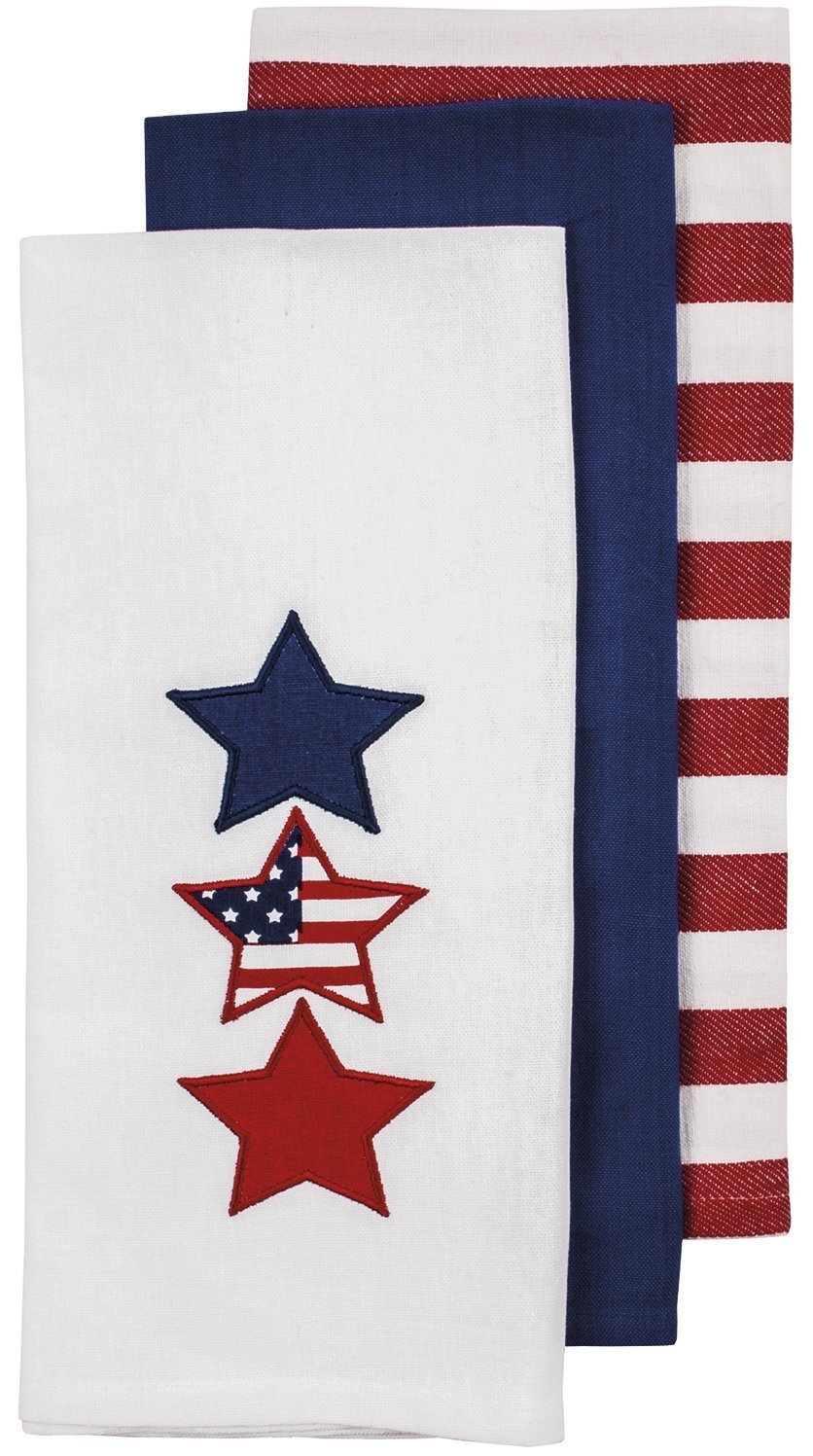 Ladelle Patriotic Kitchen Towel Set - One Each White with Star Applique, Solid Blue, Red & White Stripe