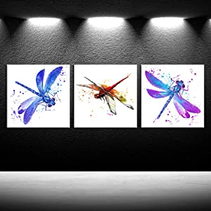 iKNOW FOTO 3pcs Modern Art Beautiful Dragonfly Art Canvas Wall Print Watercolor Paintings Insect Nature Pictures Giclee Artwork Stretched and Framed Ready to Hang for Home Decoration 12x12inchx3pcs