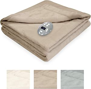 SoftHeat by Perfect Fit | Luxurious Velvet Plush Heated Electric Warming Blanket with Safe & Warm Low-Voltage Technology (Queen, Linen)