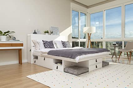 Memomad Functional Bed BALI + Headboard - White  (also available in wood finish)