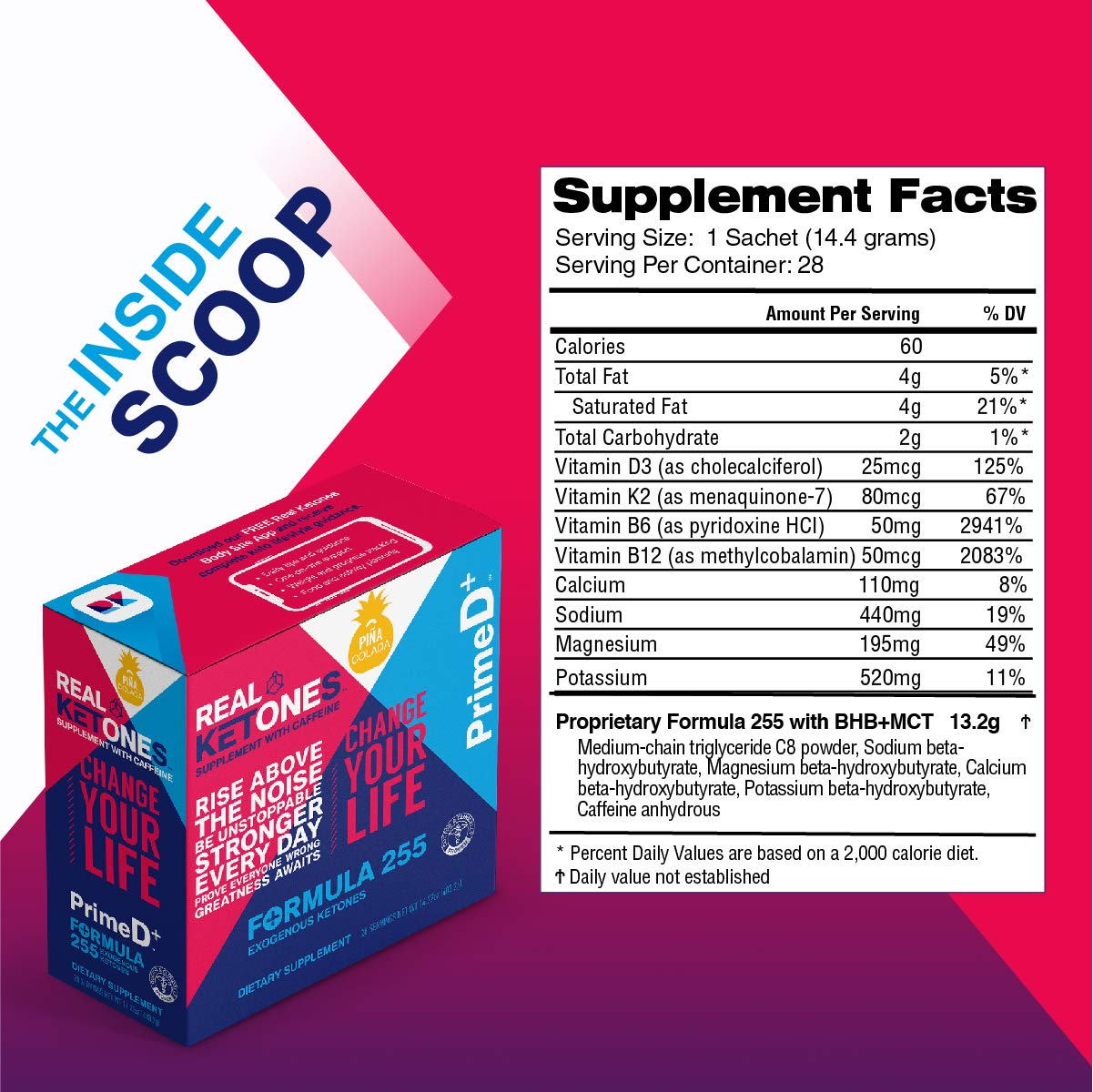 Real Ketones Prime D+ Pina Colada Caffeinated Exogenous Ketone Supplement with BHB and MCT Combo for Ketone Boost, Energy and Focus by KEGENIX (Image #2)