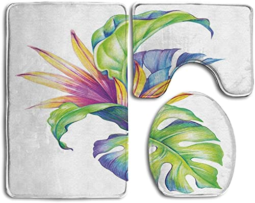 Guiping Tropical Leaves And Monstera With Abstract Color Scheme Hawaiian Floral Elements Bathroom Rug Mats Set 3 Piece,Funny Bathroom Rugs Graphic Bathroom Sets,Anti-skid Toilet Mat Set