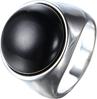 CARTER PAUL Acier inoxydable de mariage lisse Band Men Black Diamond Onyx Silver Ring
