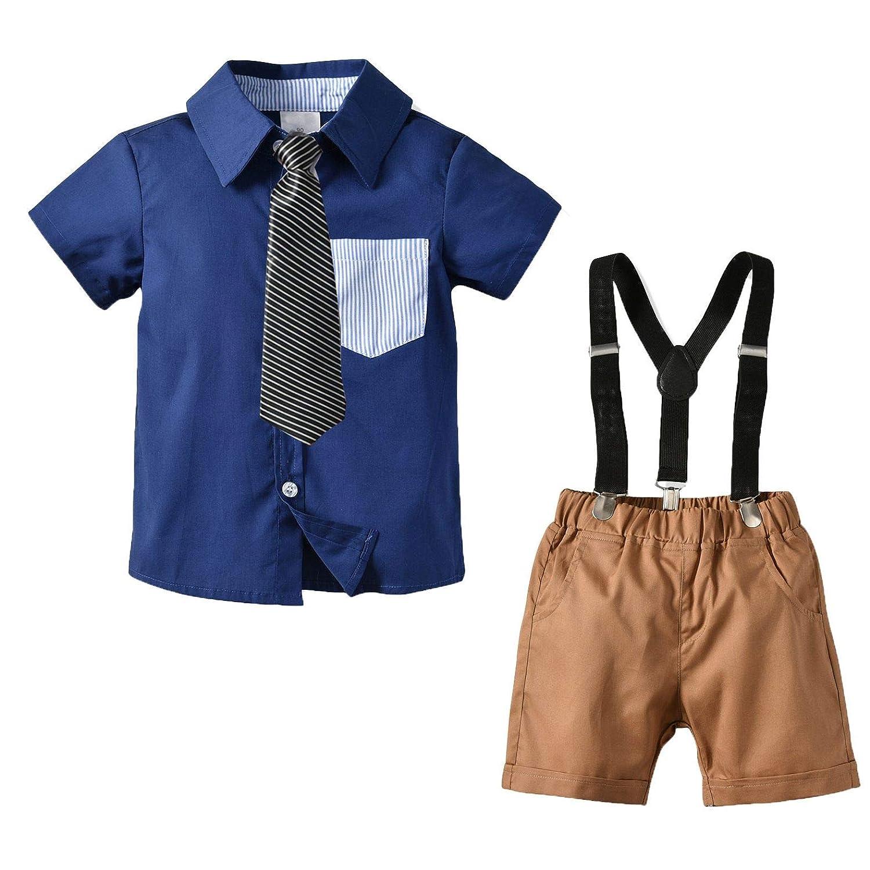 2tlg Kleinkind Baby Jungen Hemd Tops Kurze Hose Outfits Gentleman Krawatte Set