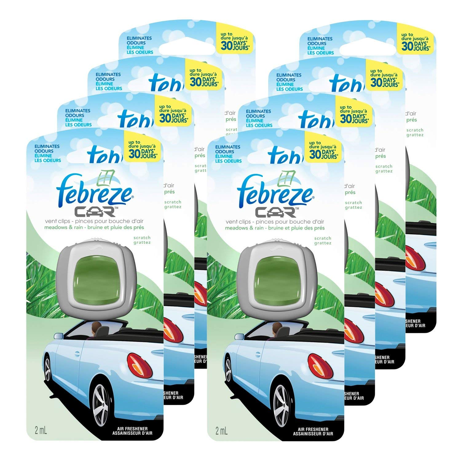 Febreze Car Vent Clip Air Freshener and Odor Eliminator, Meadows and Rain Scent - 8 Pieces